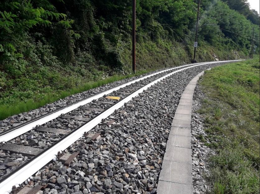 Weiße Schienen der Mariazeller Bahn